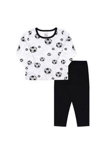 Pijama Bebê Masculino Meia Malha Camiseta Manga Longa Futebol E Calça Preta (1/2/3) - Kappes - Tamanho 3 - Cinza,Preto