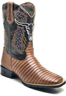 Bota Texana Ded Calçados Tatu Bico Quadrado Cano Longo Bordado Masculina - Masculino-Marrom