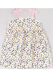 Vestido Infantil Estampado Floral Com Textura E Laço Alças Finas Off White
