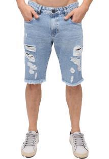 Bermuda Rock&Soda Masculina Jeans Destroyed Moderna Casual Azul 36