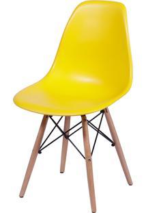 Cadeira Dkr Polipropileno E Base De Madeira Lawang – Amarela