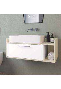 Gabinete Para Banheiro 1 Porta Bartolomeu Estilare Móveis Branco/Madeirado