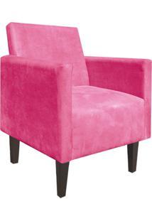 Poltrona Decorativa Compacta Jade Suede Rosa Barbie Com Pés Baixo Chanfrado - D'Rossi