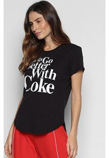 Camiseta Coca-Cola Things Go Better Feminina - Feminino-Preto