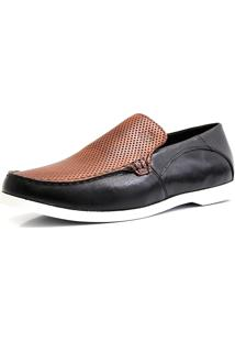 Docksider Casual Moderno Shoes Grand Confortável Preto