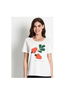 T- Shirt Feminina Estampada Rovitex Bege