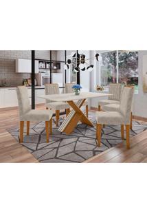 Conjunto De Mesa De Jantar Com Tampo De Vidro Madrid E 6 Cadeiras Ana Animalle Off White E Creme