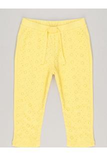 Calça Infantil Com Laise Amarela