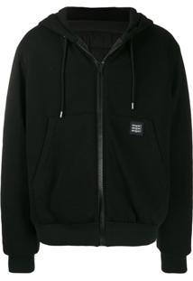 Msgm Zipped Drawstring Jacket - Preto