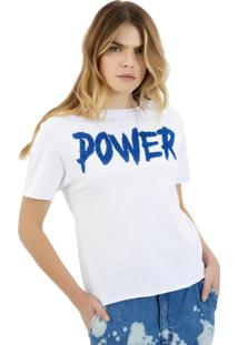 Camiseta Rosa Chá Power Malha Branco Feminina (Branco, Gg)