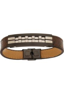 Bracelete De Aço Inox Tudo Jóias Com 13Mm De Largura Black
