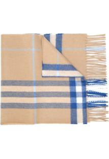 Burberry Cachecol Giant Check De Cashmere - Neutro