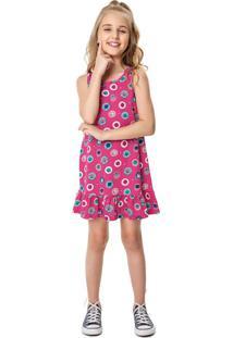 Vestido Peplum Estampado Menina