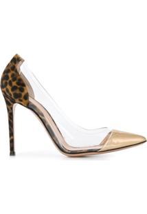 Gianvito Rossi Scarpin Com Detalhe De Estampa De Leopardo - Dourado