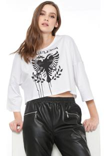 Camiseta Cropped Cavalera Águia Stencil Branca