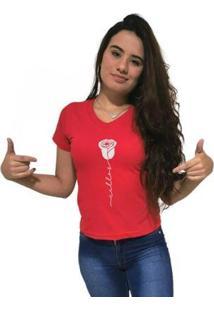 Camiseta Gola V Cellos Rose Premium Feminina - Feminino
