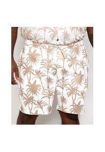 Bermuda Masculina Plus Size De Sarja Birden Coqueiros Com Bolsos E Cordão Bege Claro
