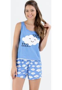 Pijama Feminino Short Doll Estampa Nuvens Marisa