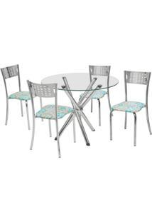 Conjunto De Mesa Com 4 Cadeiras Carol Corino Cromado