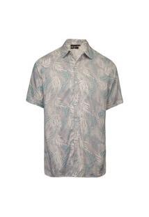 Camisa Masculina Viscose Folhagem Azul