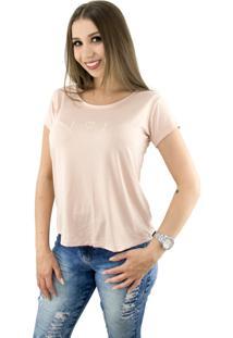 Camiseta T-Shirt Feminina Estampa Coração Cor Rosê Baumni