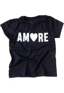 Camiseta Doll Up Amore Manga Curta Menina Preta