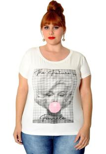 T-Shirt Vintage And Cats Plus Size Marylin Off-White