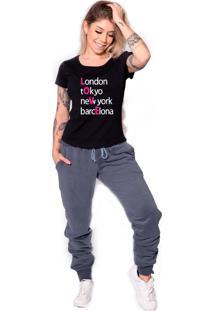 Camiseta Longline Confort Kruger'S Concept London Tokyo New York Barecelona