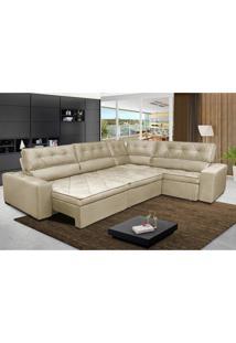 Sofa De Canto Retrátil E Reclinável Com Molas Cama Inbox Austin 3,45X2,44 Ou 2,44X3,45 Suede Velusoft Bege