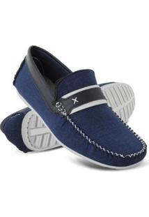Mocassim Drive Euro Flex Macio Leve Confortável Costurado Masculino - Masculino-Azul