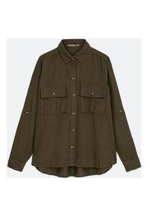 Camisa Lisa Em Liocel Com Bolsos De Lapela Curve & Plus Size | Ashua Curve E Plus Size | Verde | Eg