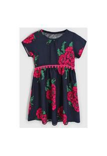 Vestido Nanai By Kyly Infantil Floral Azul-Marinho