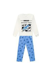 Pijama Primeiros Passos Abrange Estampa Dinos Que Brilha No Escuro Natural E Azul Abrange Casual Off-White