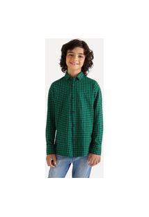 Camisa Mini Pf Ml Vichy Médio Casual Reserva Mini Verde