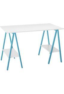 Escrivaninha Cavalete Savona Branco E Azul