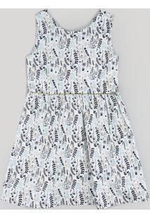 Vestido Infantil Estampado De Folhas Sem Manga Off White