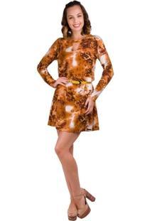 Vestido Banna Hanna Visco Vazado Caramelo/Marrom - Feminino