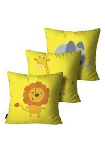 Kit Mdecore Com 3 Capas Para Almofada Infantil Animais Amarelo 35X35Cm