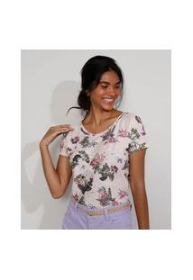 Camiseta Feminina Estampada Manga Curta Floral Decote Redondo Rosa Claro