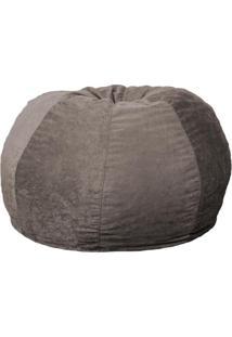 Puff Confort Maçã Suede Cinza 120 Cm