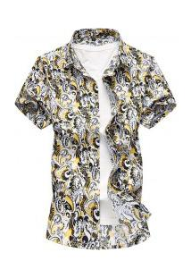 Camisa Masculina Design Estampado - Amarelo