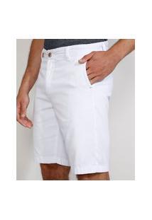 Bermuda De Sarja Masculina Chino Reta Com Bolsos Branca