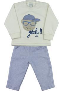 Conjunto Bebê Plush E Moletom Flanelado Menino Boné Yeah!! Ano Zero - Masculino-Off White+Azul