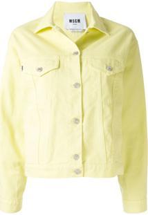 Msgm Jaqueta Jeans - Amarelo
