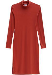 Vestido Lecimar Em Punho Listrado Outono Inverno Manga Longa Vermelho Médio - Tricae