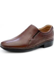 Sapato Social Masculino Couro Elástico Blaqueado Conforto - Masculino-Café