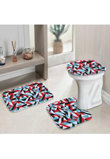 Jogo Tapetes Para Banheiro Geométrico Live - Único
