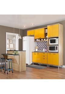 Cozinha Compacta Sicília Sem Tampo 11 Portas 3 Gavetas Argila/Amarelo - Multimóveis
