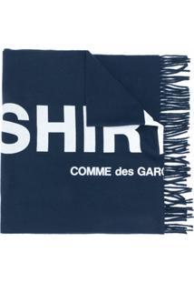 Comme Des Garçons Shirt Echarpe Com Logo Bordado - Azul