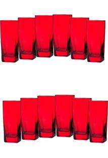 Conjunto 12 Copos Bali Art House De Vidro Vermelho